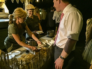 Italian porcetta being served at a wedding